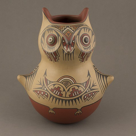 Margaret and Luther Gutierrez - Polychrome Pottery Owl