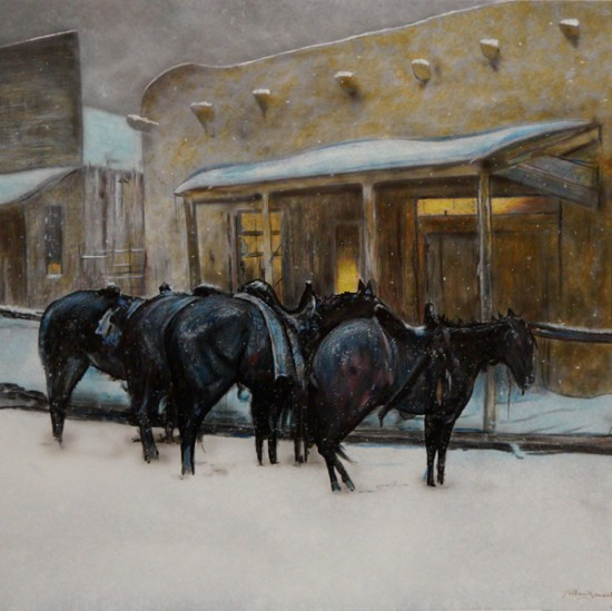 "Nathan Bennett - In Reflection of a Winter Evening (after Oscar E. Berninghaus painting titled ""Winter Evening Taos"")"
