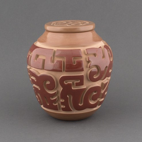 Nathan Youngblood - Carved Polychrome Lidded Pot