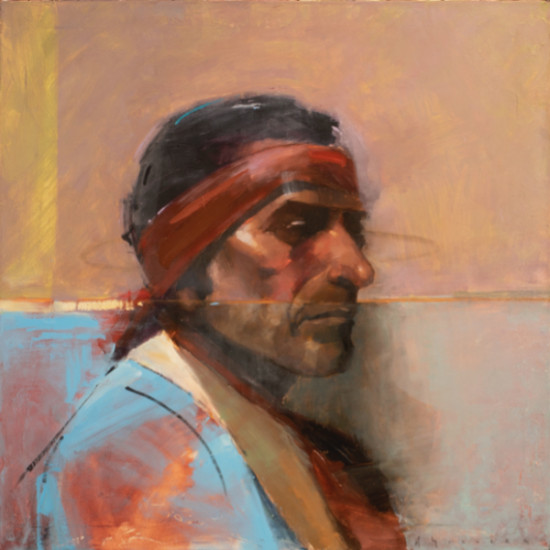 """Matthew Sievers - Chief Flat Iron (after Joseph Henry Sharp's painting titled """"Chief Flat Iron, Sioux"""")"""