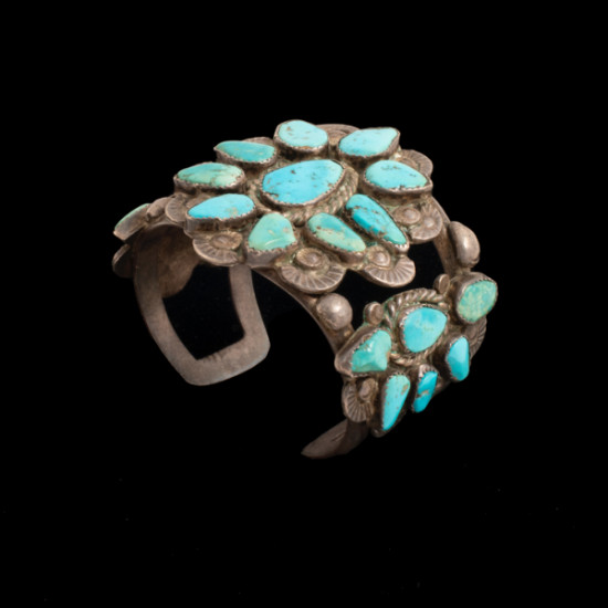 Unknown - 1940s Silver and Turquoise Bracelet