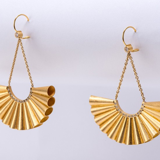Maria Samora - Gold Cone Fan Earrings