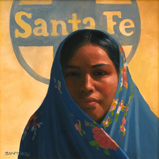 Roseta Santiago - Navajo Girl in a Blue Shawl