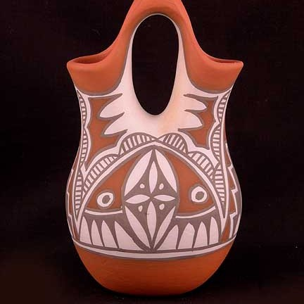 Unspecified Artists - Polychrome Pottery Wedding Vase