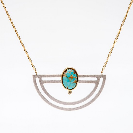 Maria Samora - Strata Half Moon Necklace