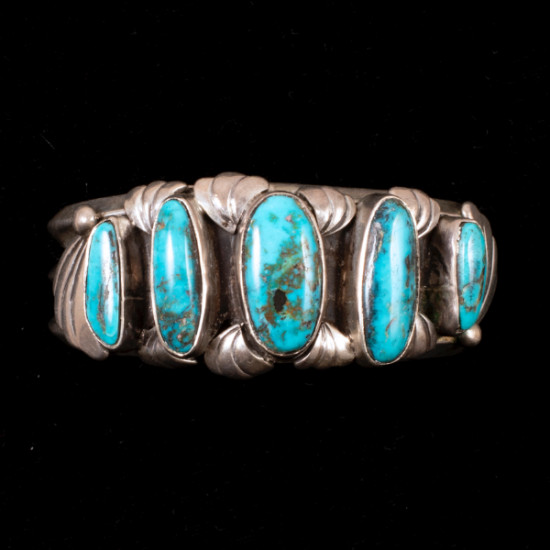 Unknown - Silver and Turquoise Cuff Bracelet