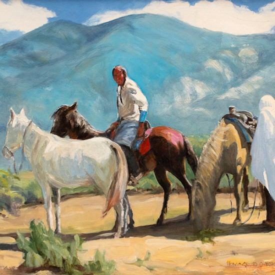 "Roseta Santiago - Taos Afternoon (after Oscar E. Berninghaus painting titled ""Ricardo and His Horses"")"