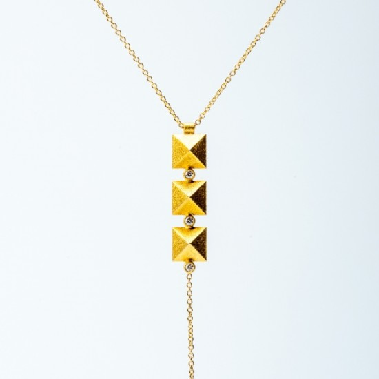 Maria Samora - Gold Pyramid Necklace