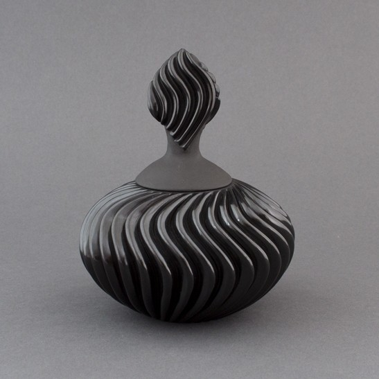 Nancy Youngblood - Lidded Blackware Swirl Pot