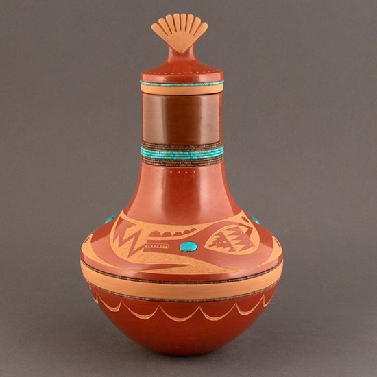 Russell Sanchez - Redware with Avanyu and Shell Lid