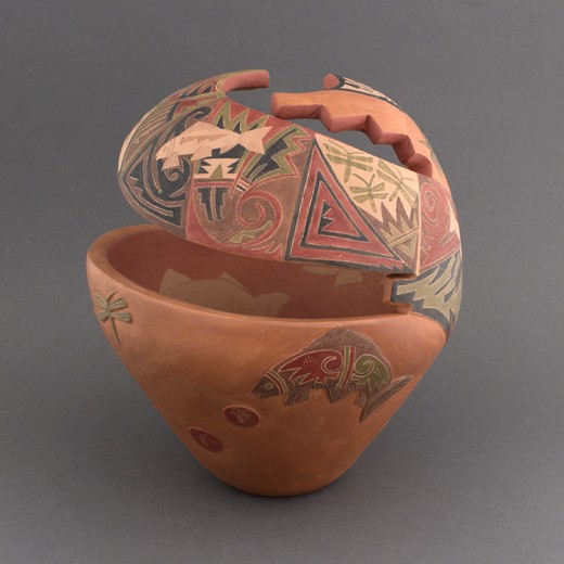 Grace Medicine Flower - Redware Cut Out with Polychrome