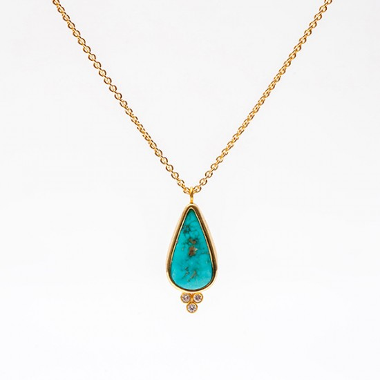 Maria Samora - Morenci Turquoise Drop Necklace
