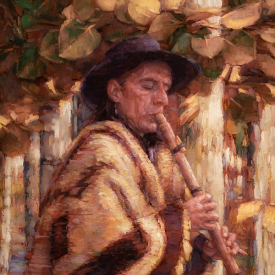 "Sean Diediker - Fall Song (after Oscar E. Berninghaus Painting titled ""Santiago, the War Chief"")"