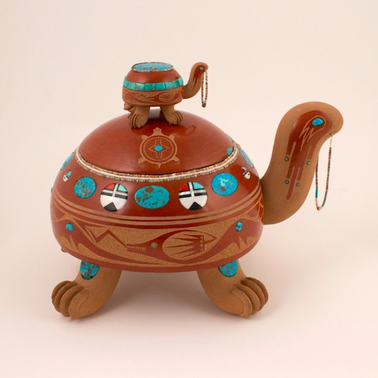 Tony Da - Sculpted Redware Turtle