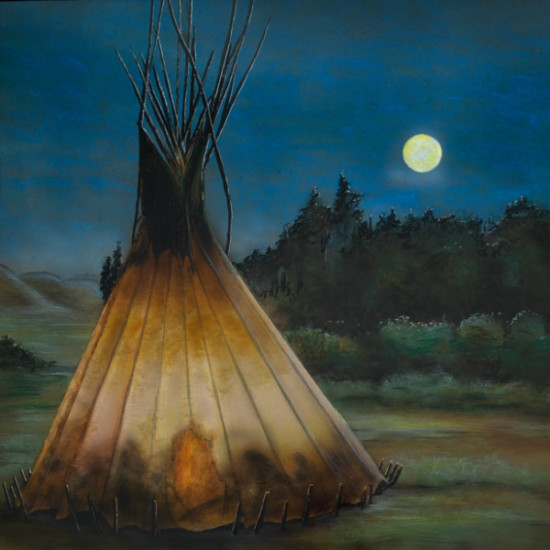 """Nathan Bennett - Night Lights (after Joseph Henry Sharp's painting titled """"Lone TeePee"""")"""