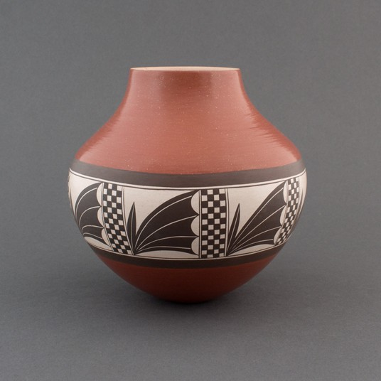 Yvonne Analla Lucas - Laguna Pottery Jar with Checks and Plants