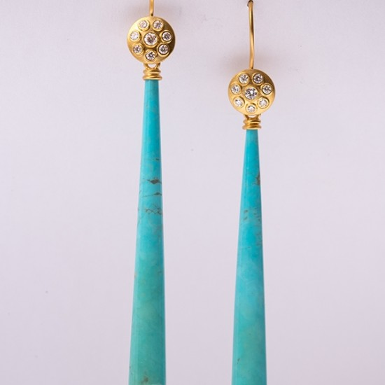 Maria Samora - Earrings with Kingman Turquoise Briolettes