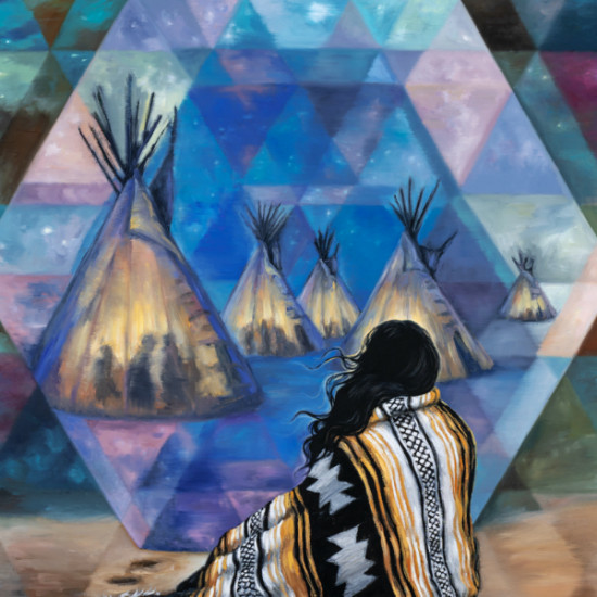"""Andrea  Peterson - Twilight Portal (after Joseph Henry Sharp paintings titled """"Council Call of Crows: Firelight and Twilight"""" and """"Crucita, A Taos Indian Girl"""")"""