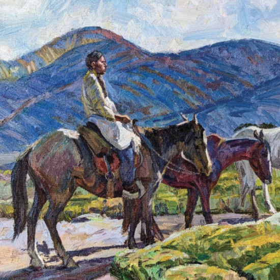 """Hyrum Joe - Indian with Ponies (after Oscar E. Berninghaus painting titled """"Indian with Ponies"""")"""
