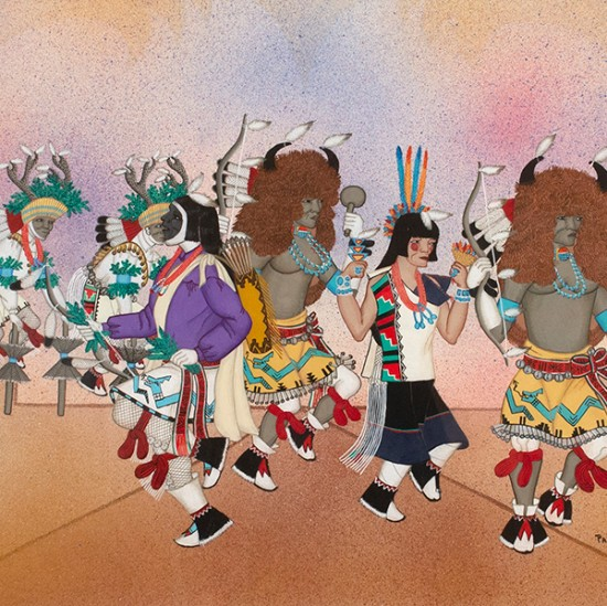 Pablita Velarde - Santa Clara Pueblo Buffalo and Deer Dance with Hunter