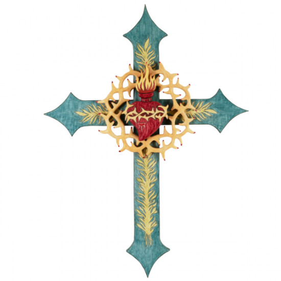 John Gallegos - Sacred Heart Cross with Crown of Thorns