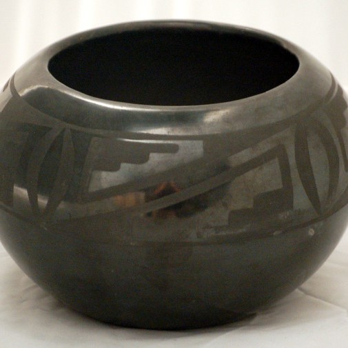 Maria Martinez - Black-on-Black Pottery Jar