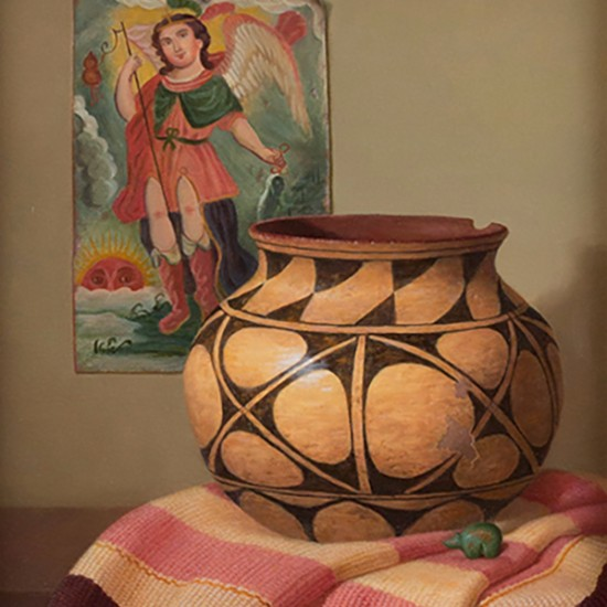 Turid Pedersen - Santo Domingo Vessel with Fetish, Retablo (archangel San Rafael)