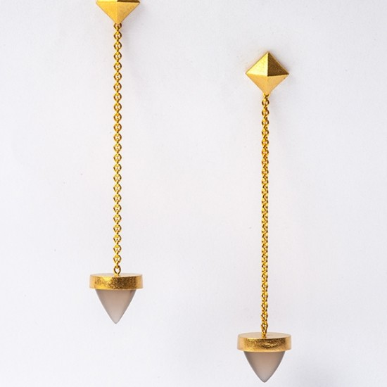Maria Samora - Bullet Earrings with Moonstone