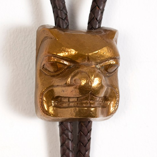 Preston Singletary - Bolo Tie with Bronze Bear Mask Pendant