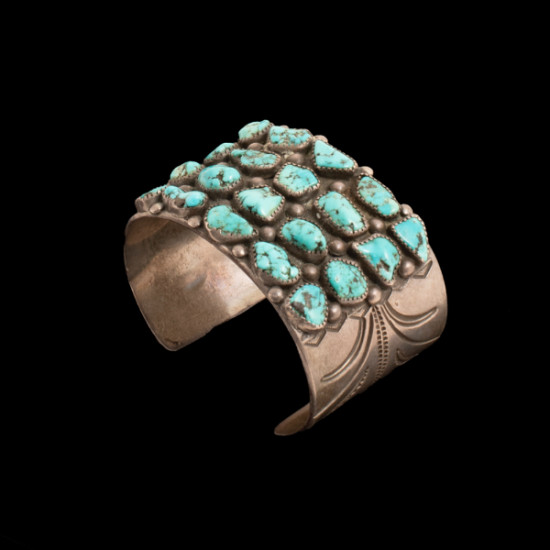 Unknown - 1940s Silver and Turquoise Cuff