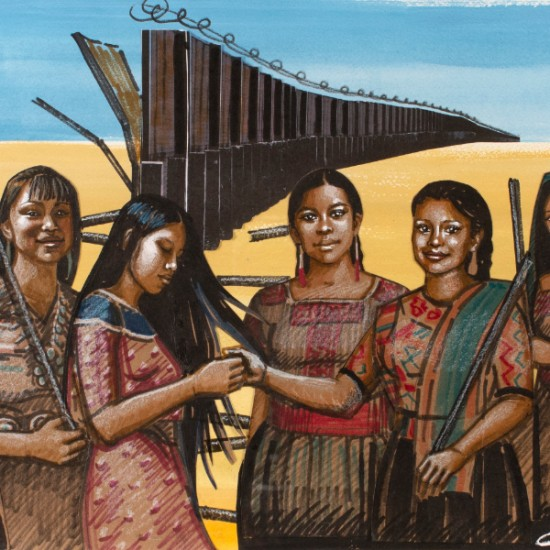 Erin Currier - Preparatory American Women (Dismantling the Border) VI (After Raphael)