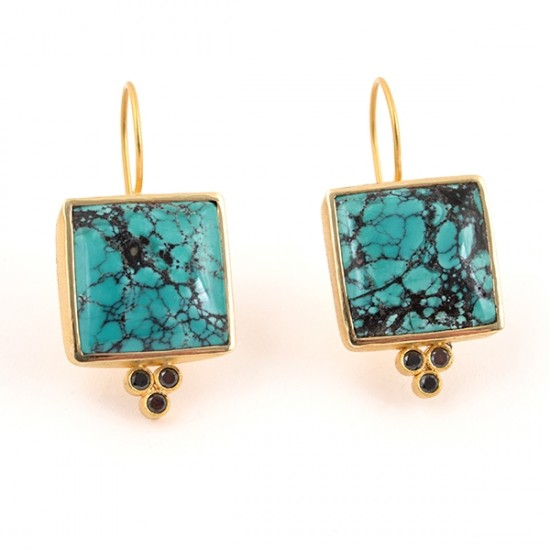 Maria Samora - Turquoise Earrings with Black Diamonds (Large)