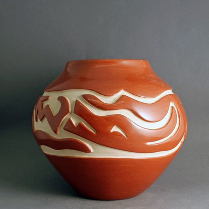 Mary Cain - Carved Redware Pottery Jar