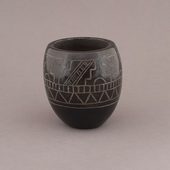Corn Moquino - Blackware with Kiva Step Pattern