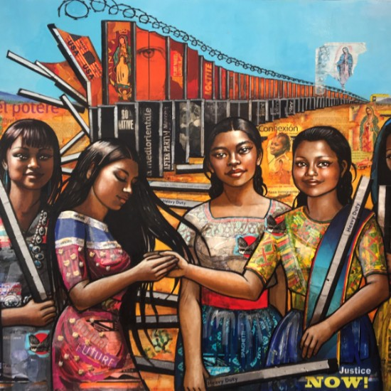 Erin Currier - American Women (Dismantling the Border) VI (After Raphael)