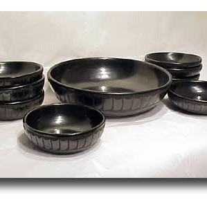 Maria Martinez - Black-on-Black Pottery Bowl Set