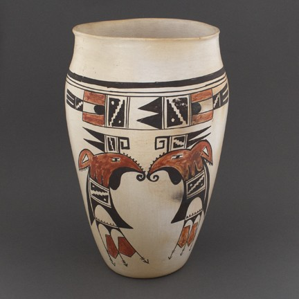 Grace Chapella - Polychrome Cylinder Vase with Parrot Design