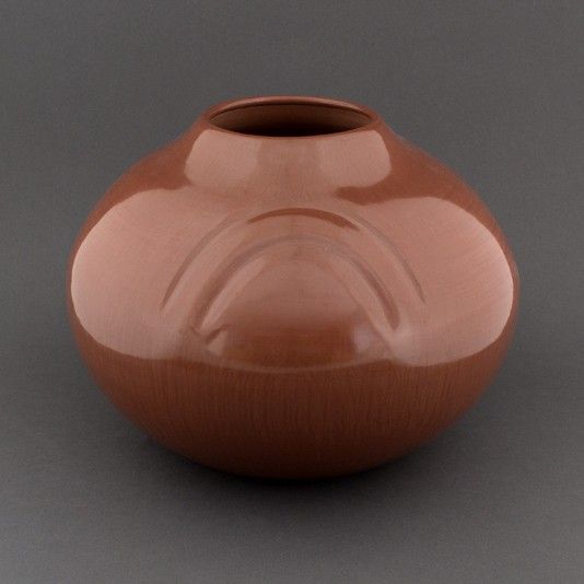 Alton Komalestewa - Redware Jar with Rainbow Impression