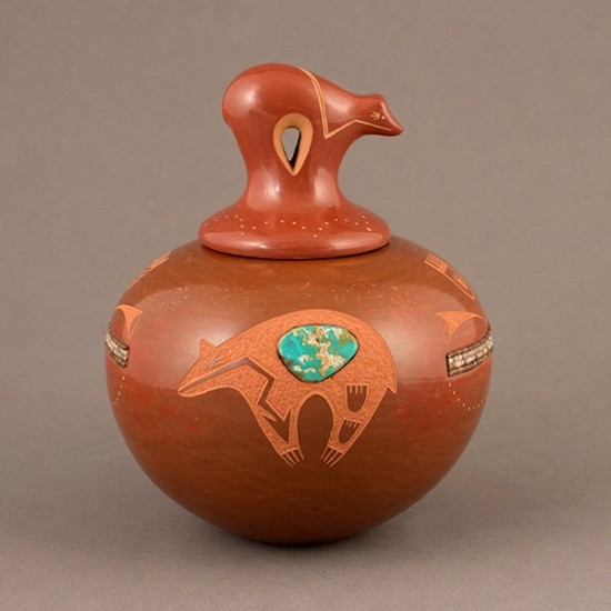 Russell Sanchez - Redware Pottery with Bear Lid