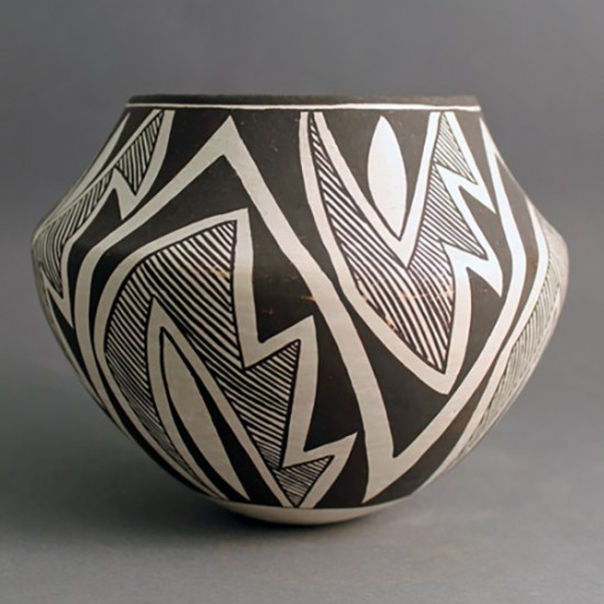 Lucy Lewis - Black on White Pottery Jar