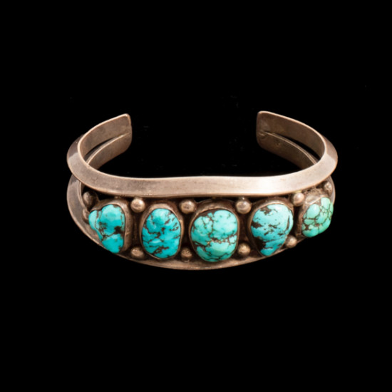 Unknown - 1960s Silver and Turquoise Bracelet