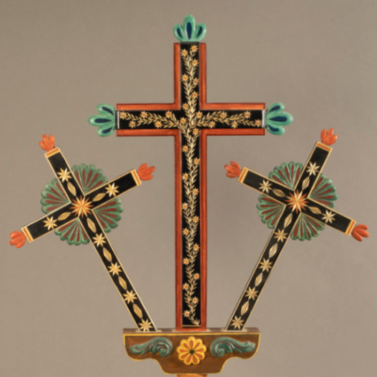 Charlie Sanchez - Untitled (three crosses with straw appliqué)