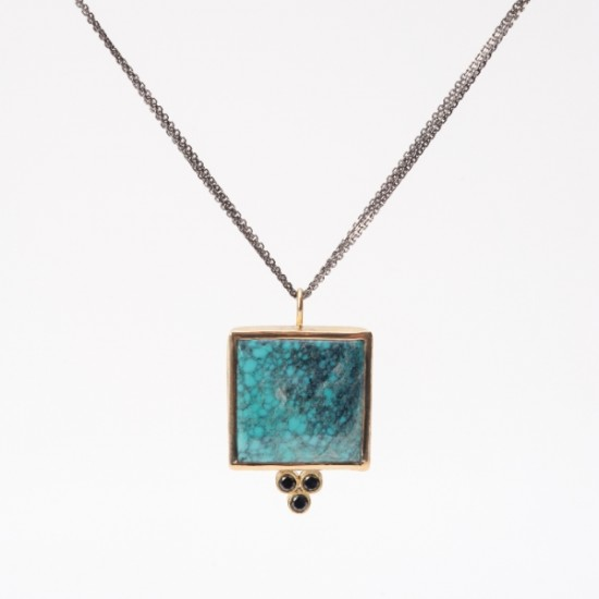 Maria Samora - Turquoise & Black Diamond Necklace