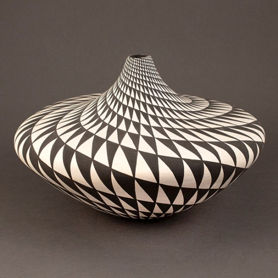 Dorothy  Torivio - Black and White Jar with Geometric Pattern