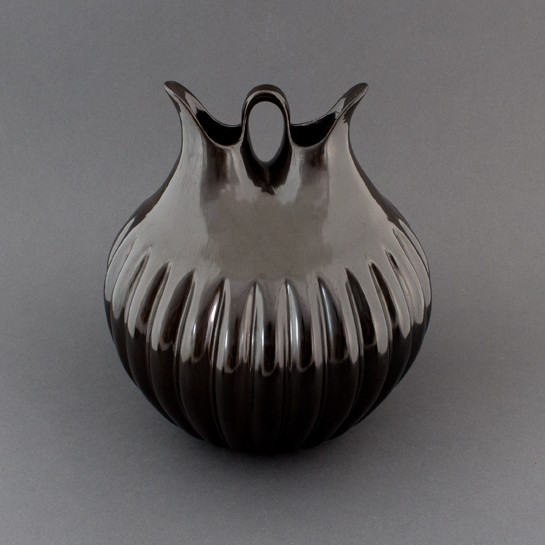 "Alton Komalestewa - Blackware ""Pushed Out"" Melon Wedding Vase"