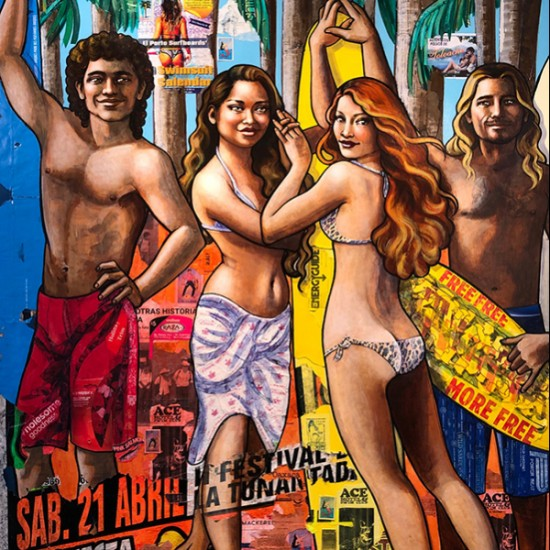 Erin Currier - Salvavidas: Surfistas de Mexico (after Botticelli)