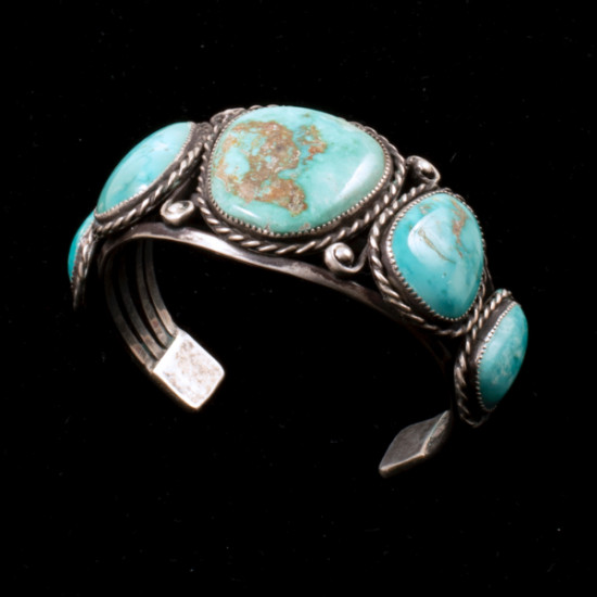 Unknown - Turquoise and Silver Cuff Bracelet