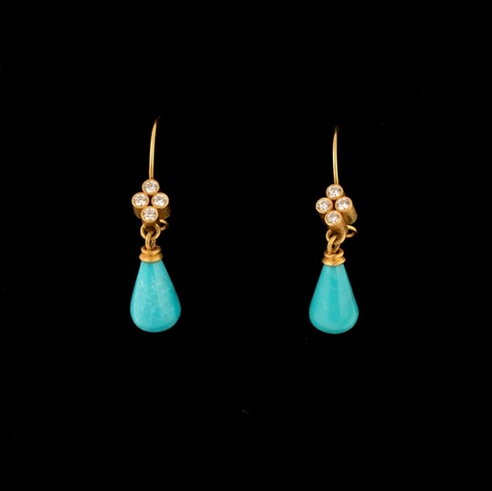 Maria Samora - Earrings with Kingman Turquoise Briolettes (Short)