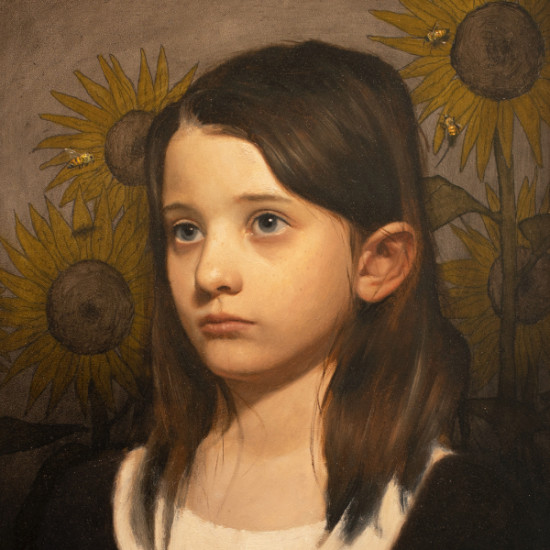 Mark Pugh - Girl with Sunflower and Bees